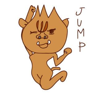かわいくジャンプするイノシシのイラスト 年賀状無料イラスト2019